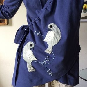 Synergy Organic Clothing Tops - SYNERGY Soft Cotton Bird Embroidered Artsy Blouse